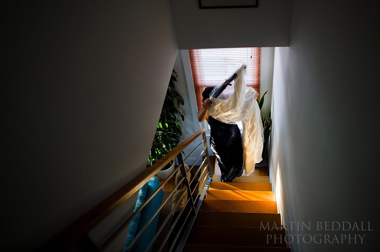 Bringing the wedding dress upstairs