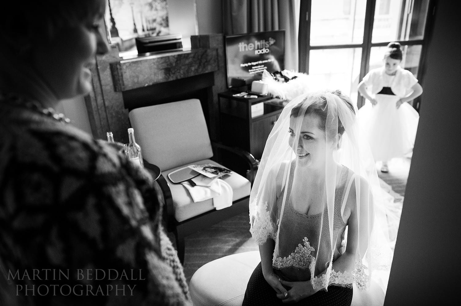 Trying on the wedding veil
