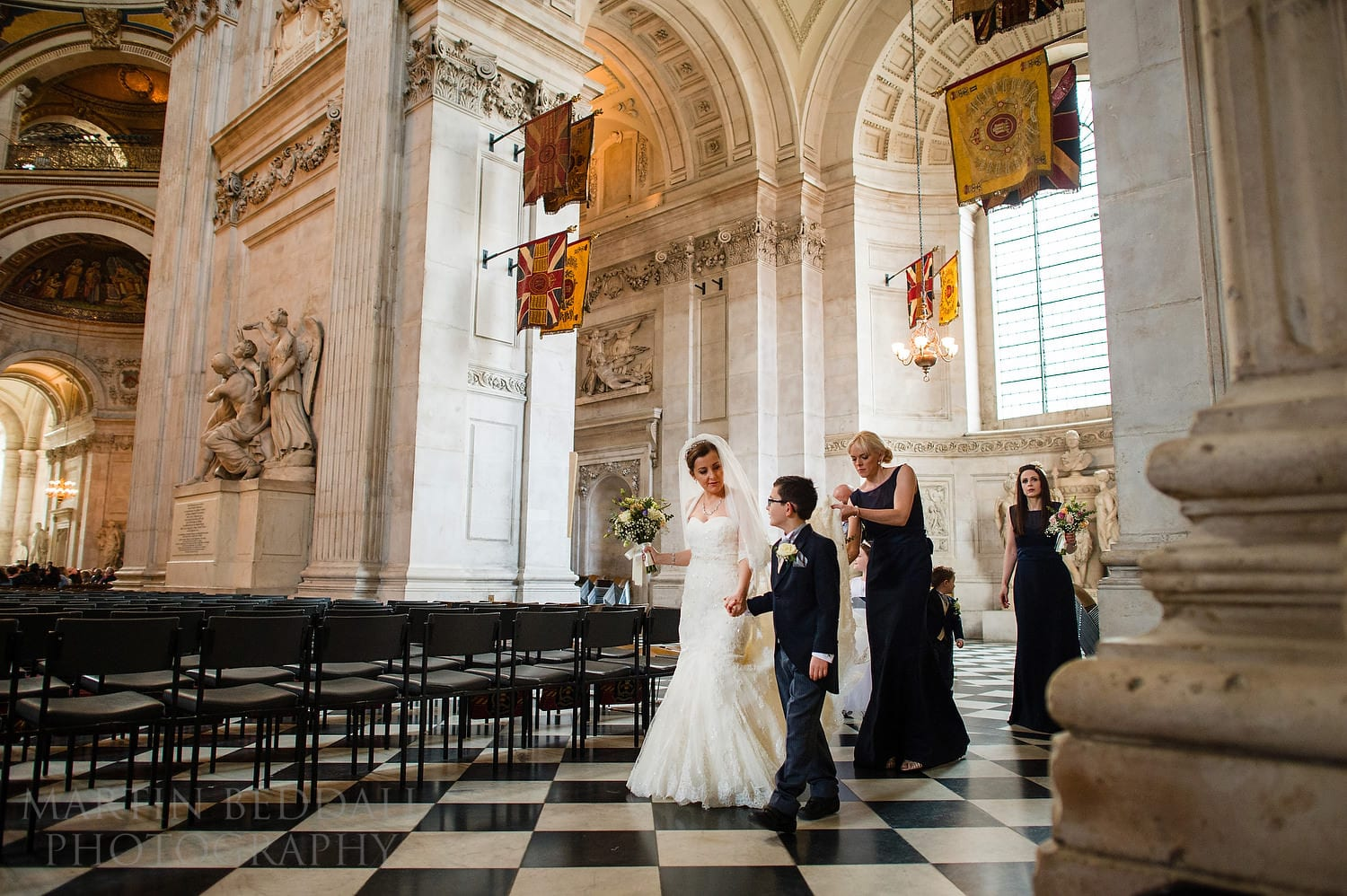 Bridal party in St Paul's Cathedral