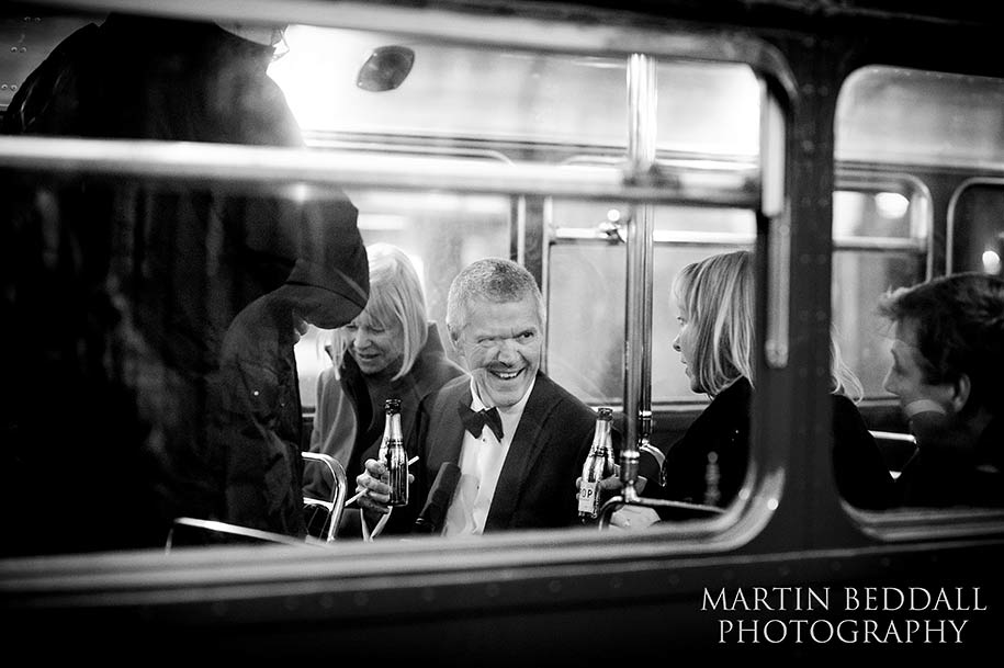 wedding guests on the Routemaster bus