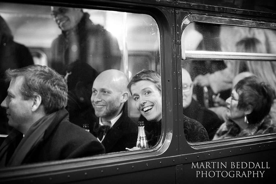 Weding guests on the Routemaster bus
