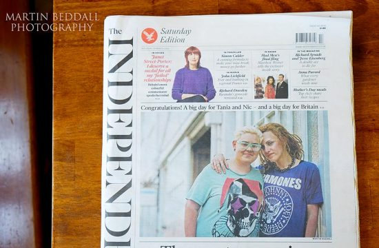 Same-sex wedding couple featured on the Independent's front page
