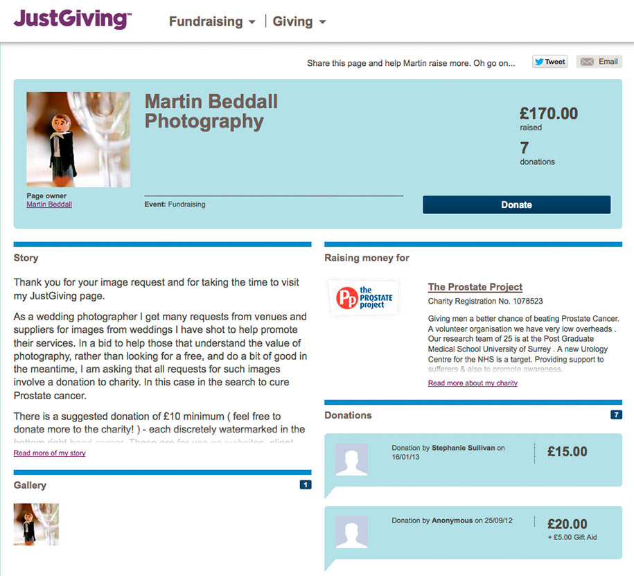 A justgiving charity donation page by mcbweddings for The Prostate Project