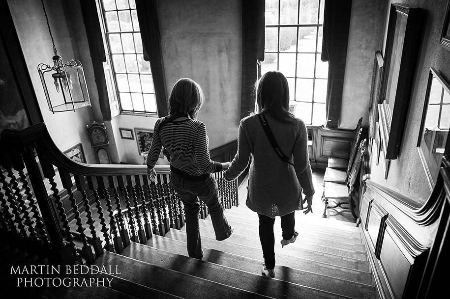 Practice walking down the main staircase at Glemham Hall