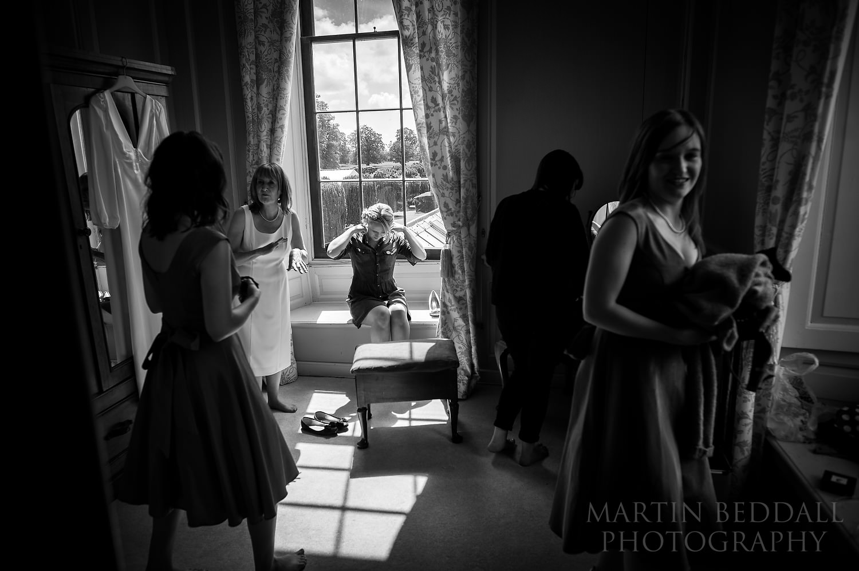 Getting ready at Glemham Hall wedding