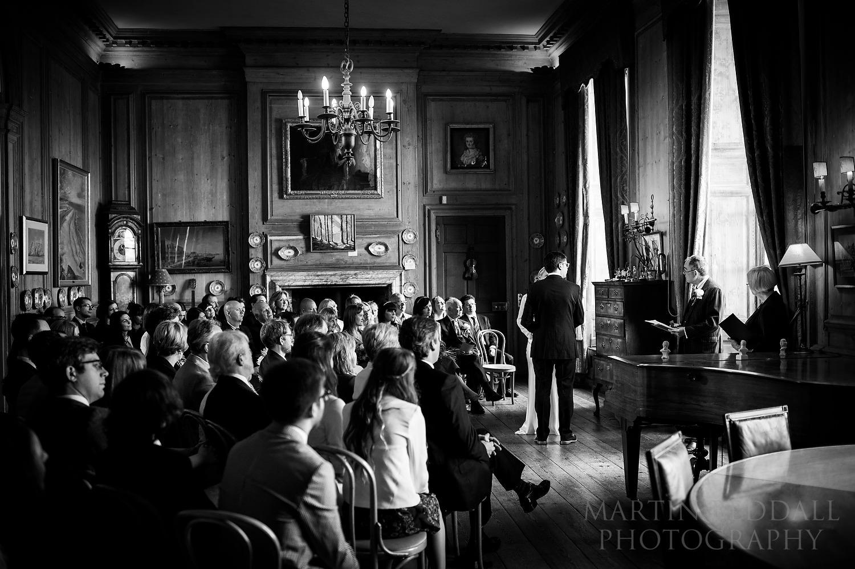 Wedding ceremony at Glemham Hall in Suffolk
