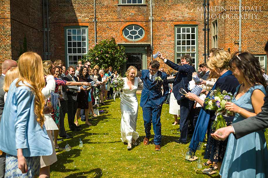 Confetti time at Glemham Hall