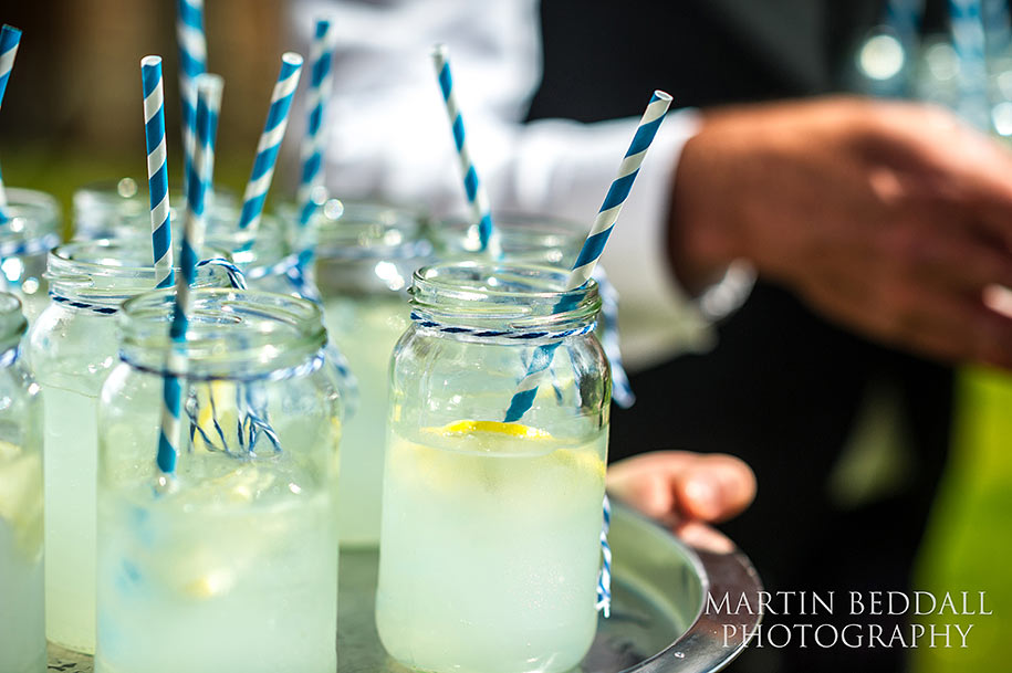 Jam jar lemondae drinks at wedding reception