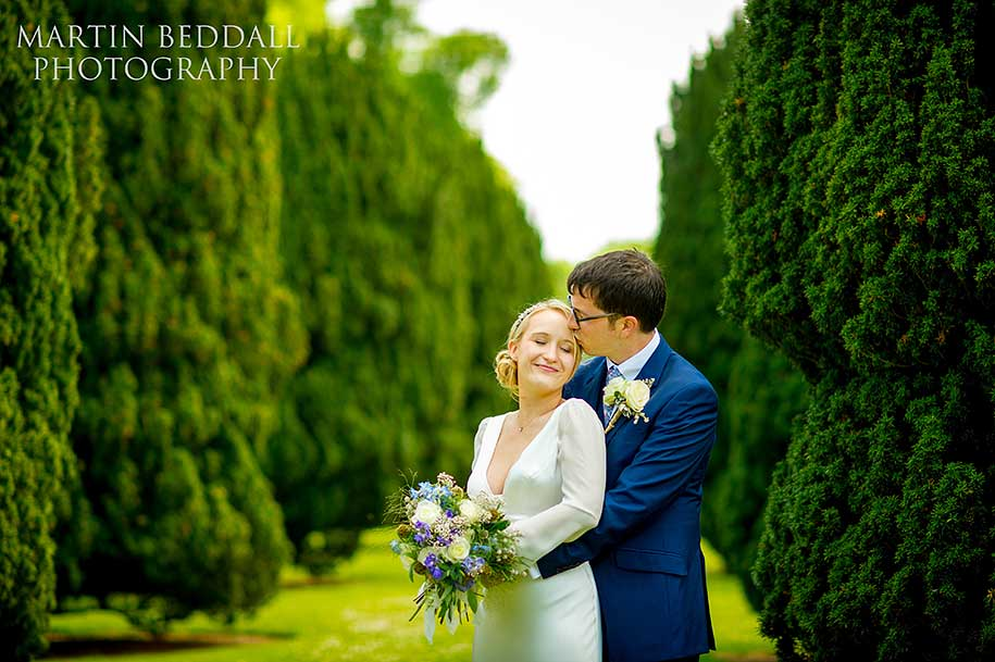 Bride and groom portrait at Glemham Hall