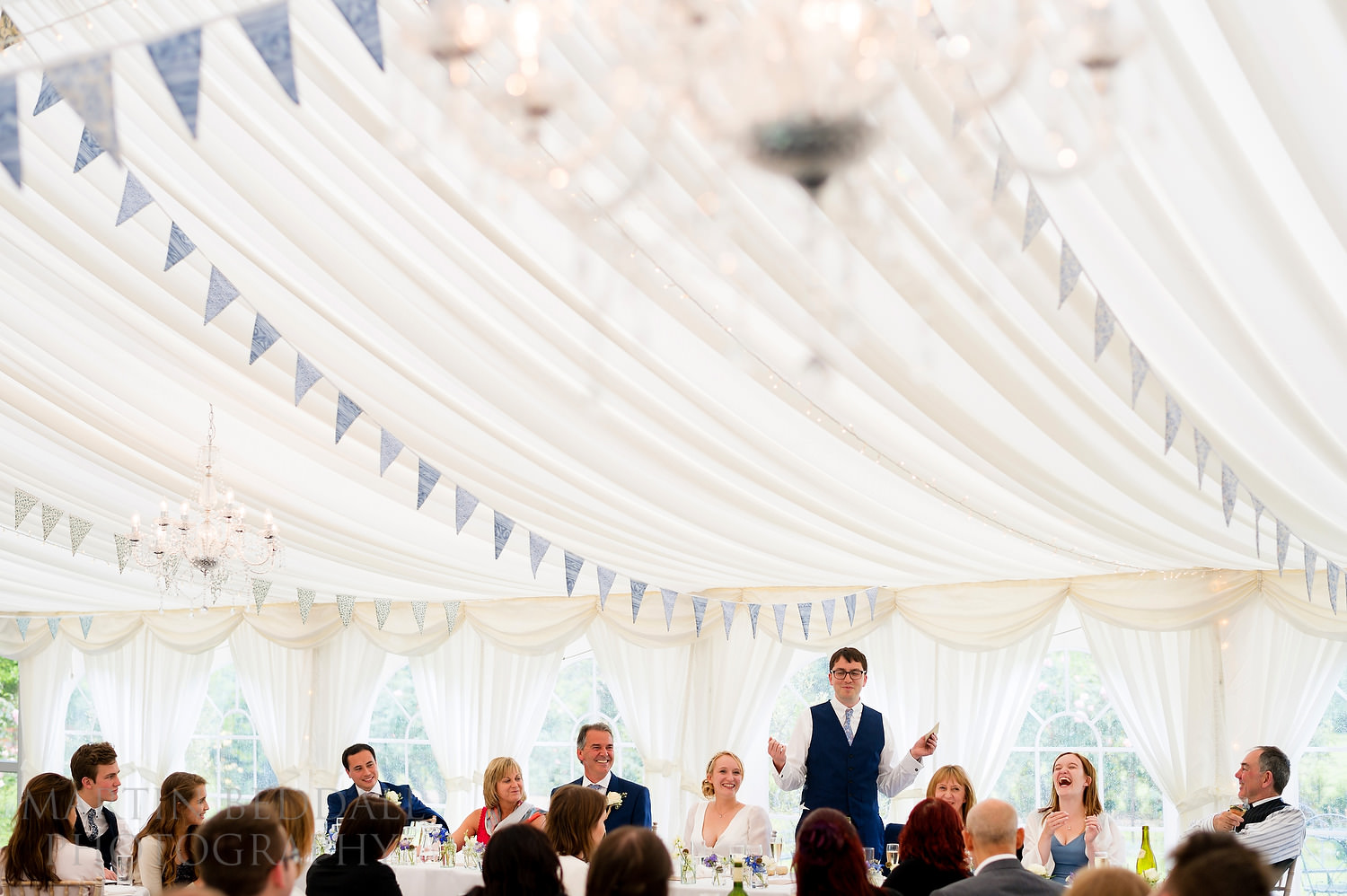 Marquee meal at Glemham Hall wedding