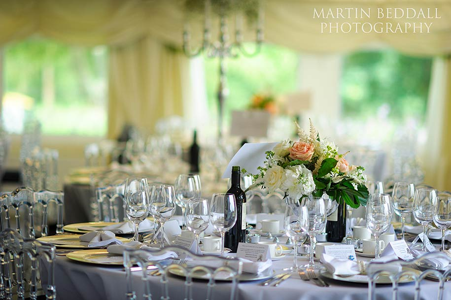 Tables laid out at a Russets wedding