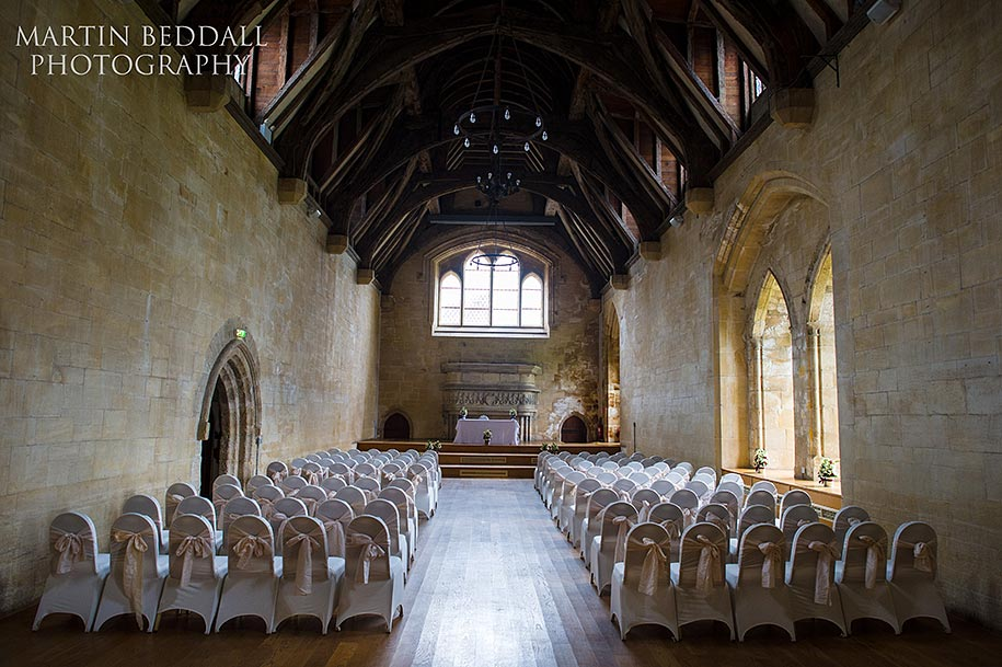 Bradenstoke Hall set for a wedding at St Donat's castle in Wales
