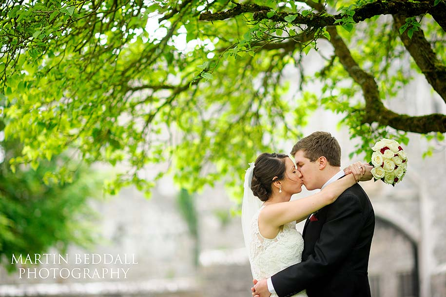 Bride and groom portrait at St Donat's castle