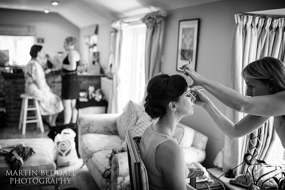 Bride getting ready in her parents home