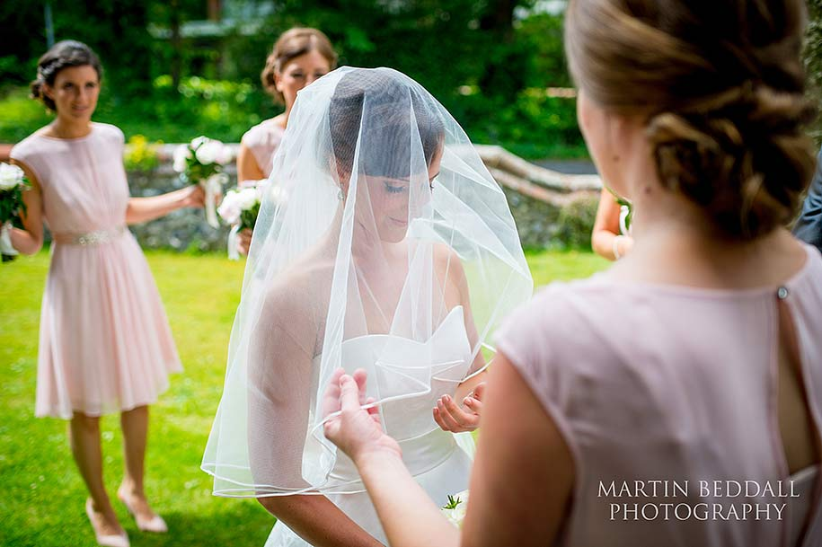 Bride with her wedding veil in place