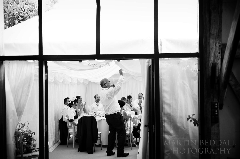 Wedding speech in a marquee