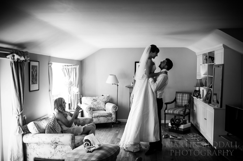 Bride and groom rehearse their wedding dance
