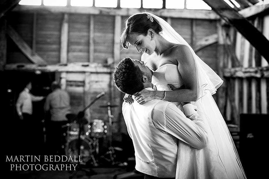 Bride and groom rehearse their romantic first dance