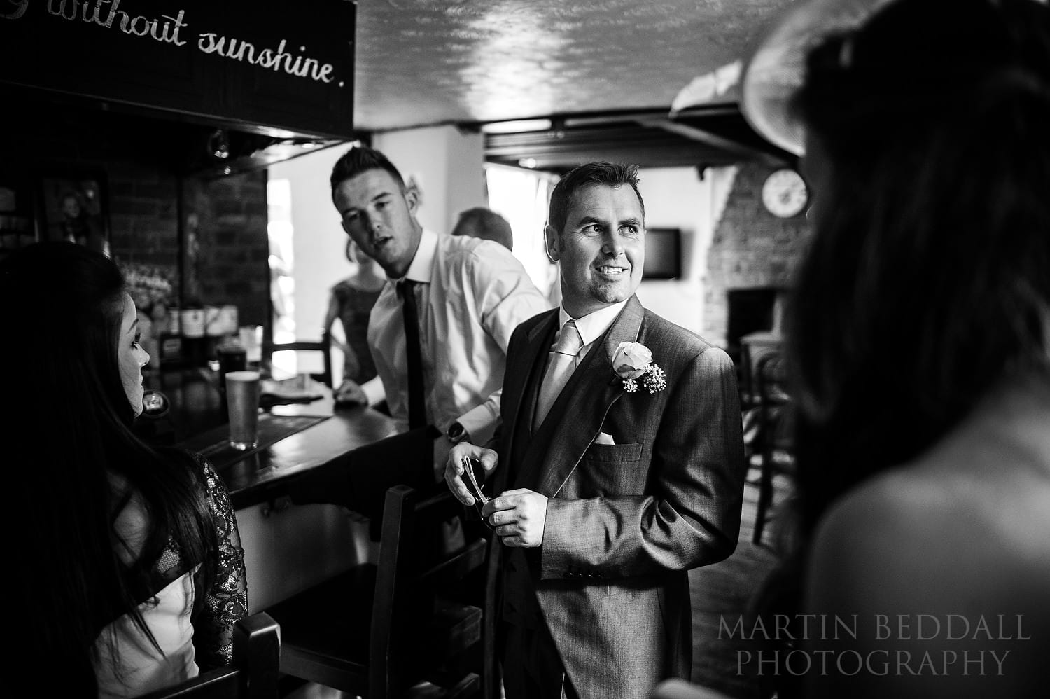 Groom in the village pub before the wedding ceremony