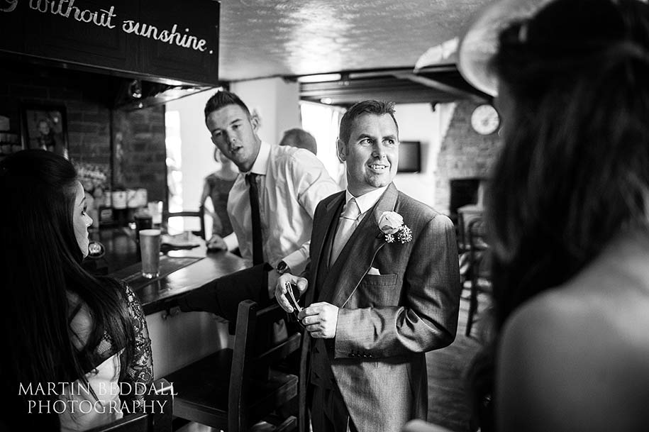 Groom in the pub before the wedding ceremony
