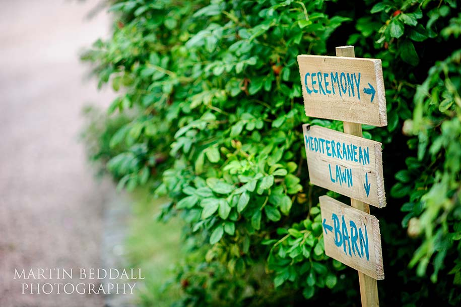 wedding signs at Dewsall Court
