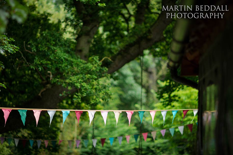 Wedding bunting at Dewsall Court