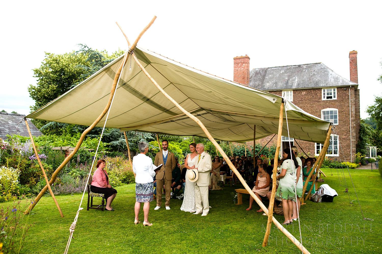 Outdoor wedding at Dewsall Court