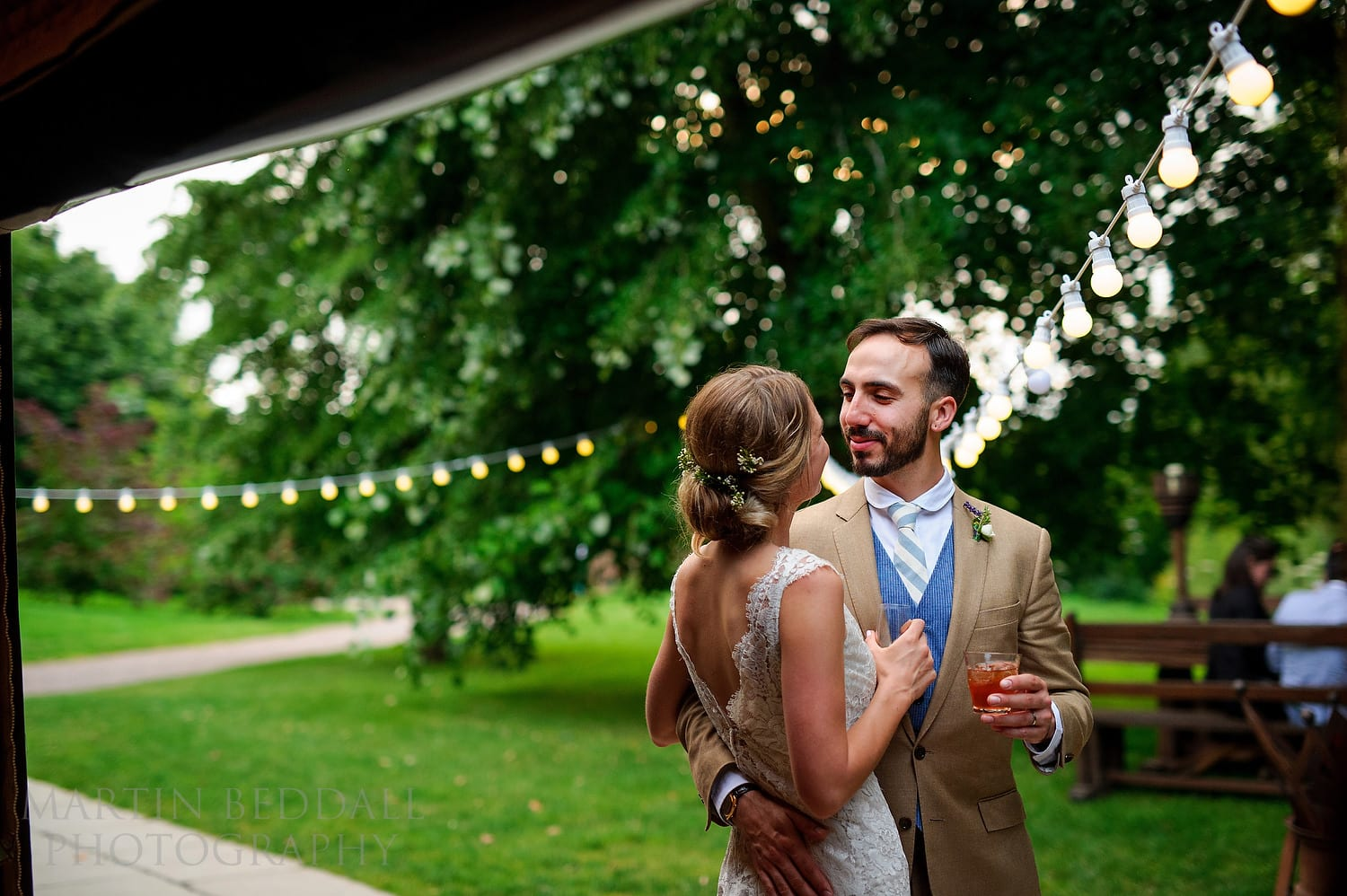Bride and groom in the evening at Dewsall Court