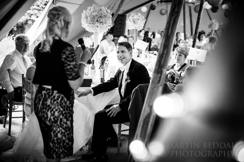 Wedding speeches at Duncton Mill wedding