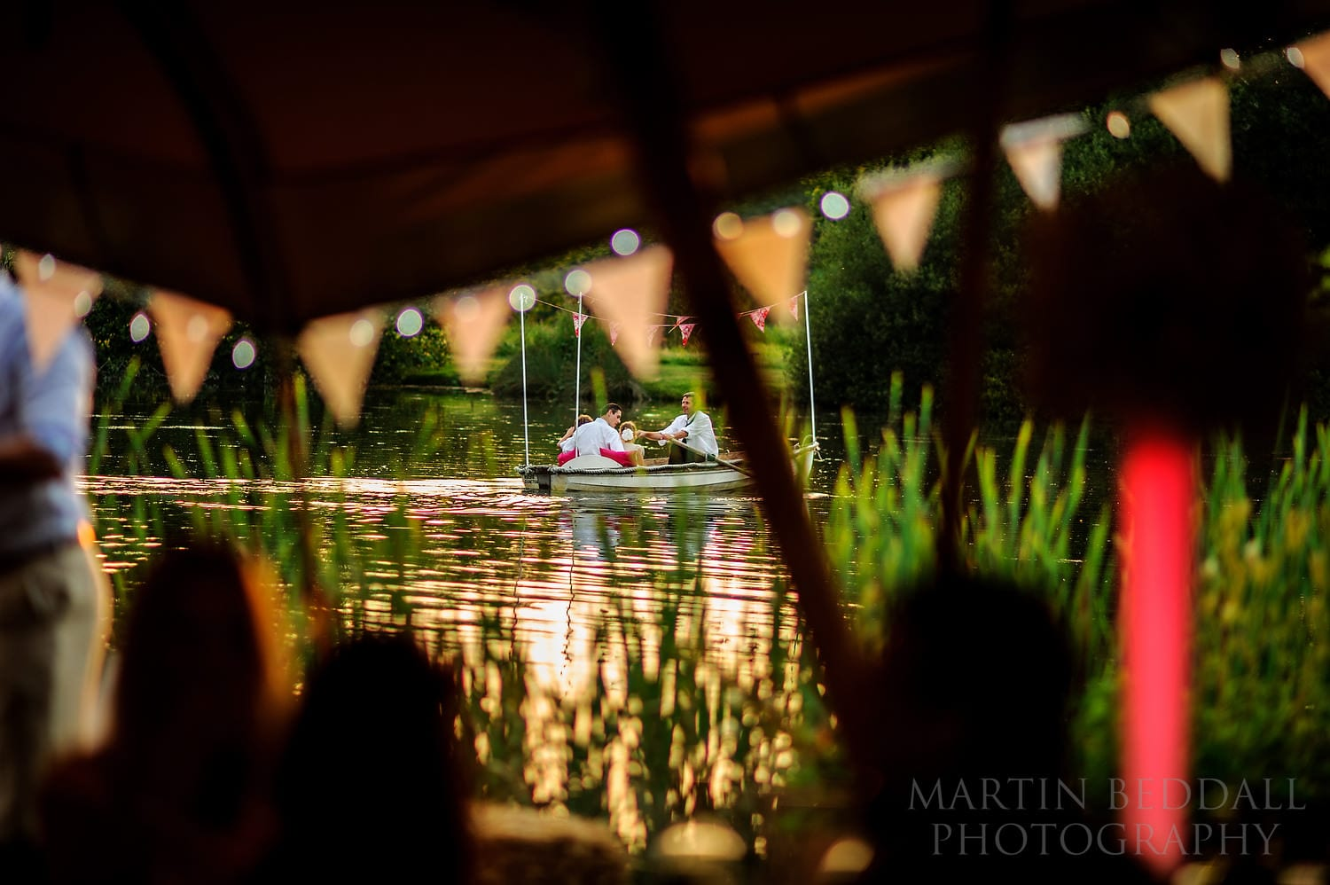 Evening on the lake at Duncton Mill wedding