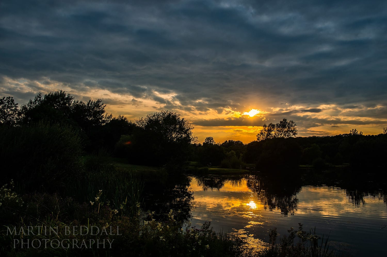 Duncton Mill lake at sunset