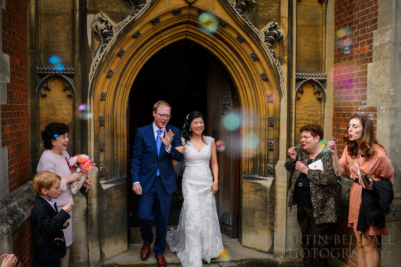 Queens' College wedding confetti bubbles