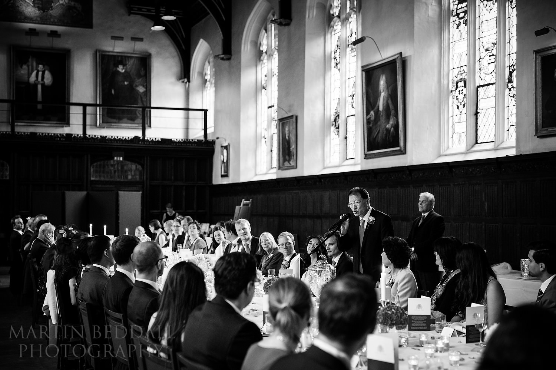 Wedding speeches at St John's College wedding