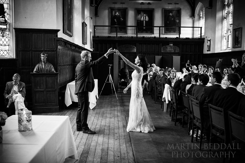 Couple dance at St John's College wedding