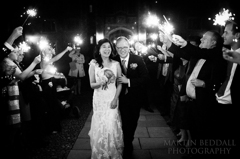 Evening sparklers at St John's College wedding