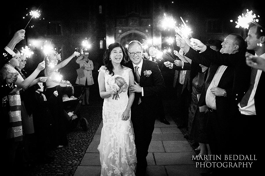 wedding sparklers at St John's college wedding in Cambridge