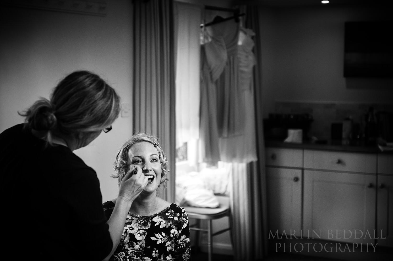 Bride getting ready at South Farm wedding