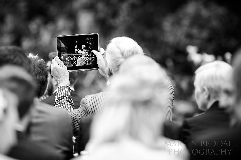 Filming the wedding ceremony