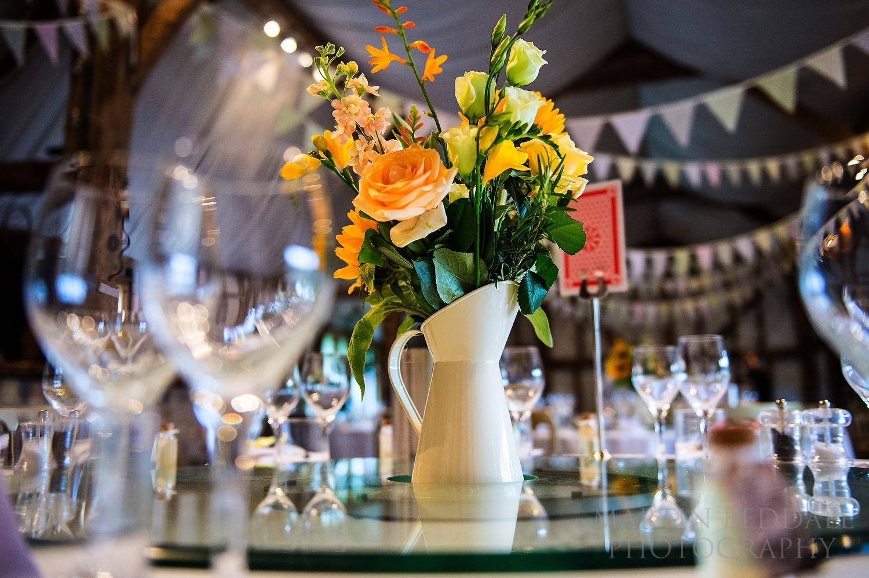 Table decoration at South Farm wedding