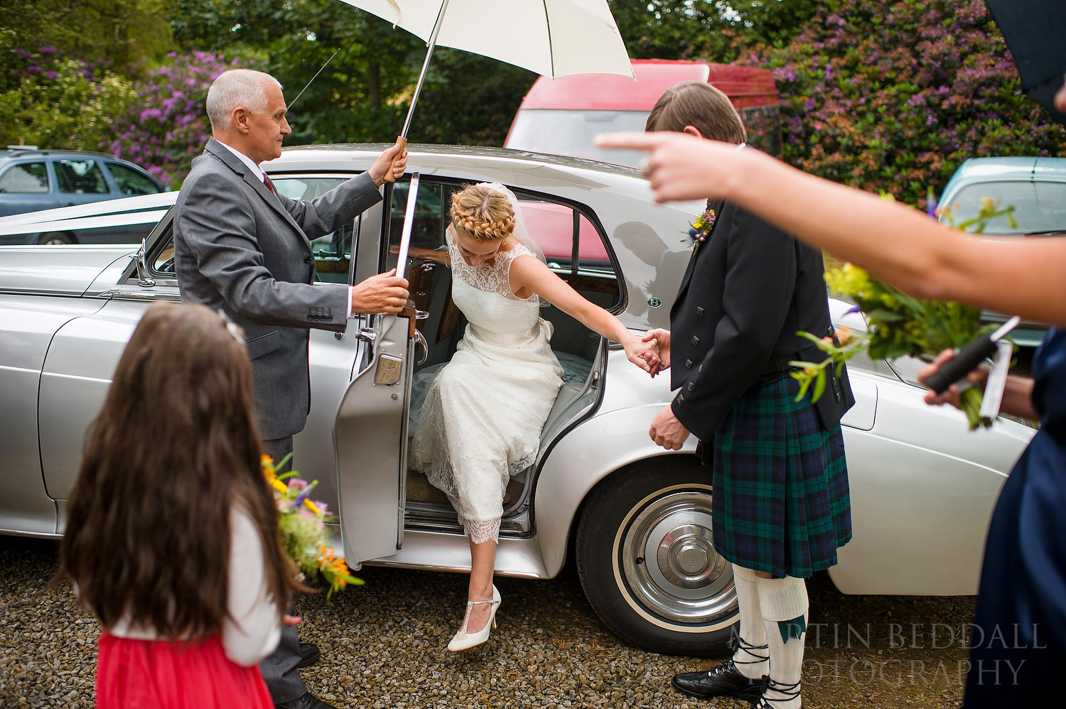 Bride arrives at St Oswald's church