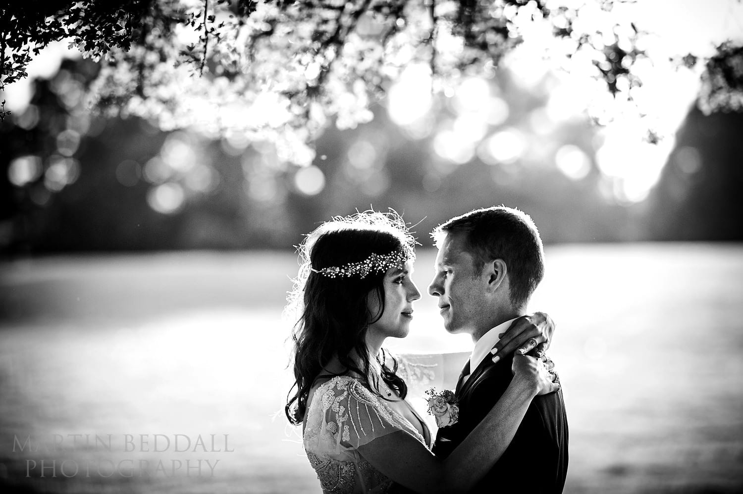 Evening couple portrait at Queen's Hall wedding