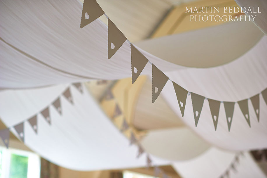 Bunting at Queen's Hall wedding reception