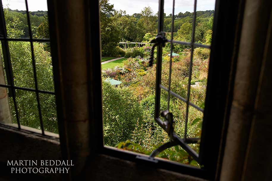 View of Gravetye Manor flower gardens from the bride's room