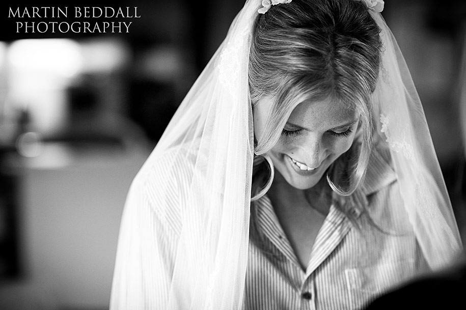 Photogenic bride with her head down