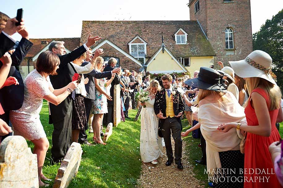Confetti run at a New Forest wedding