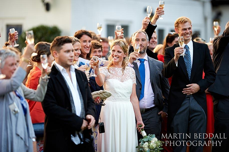 Outdoor wedding speeches toasting
