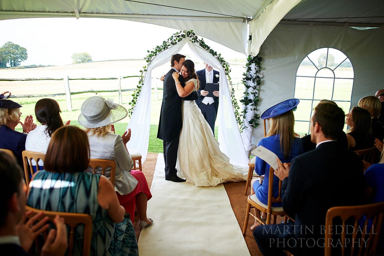 Bartholomew Barn wedding ceremony in marquee