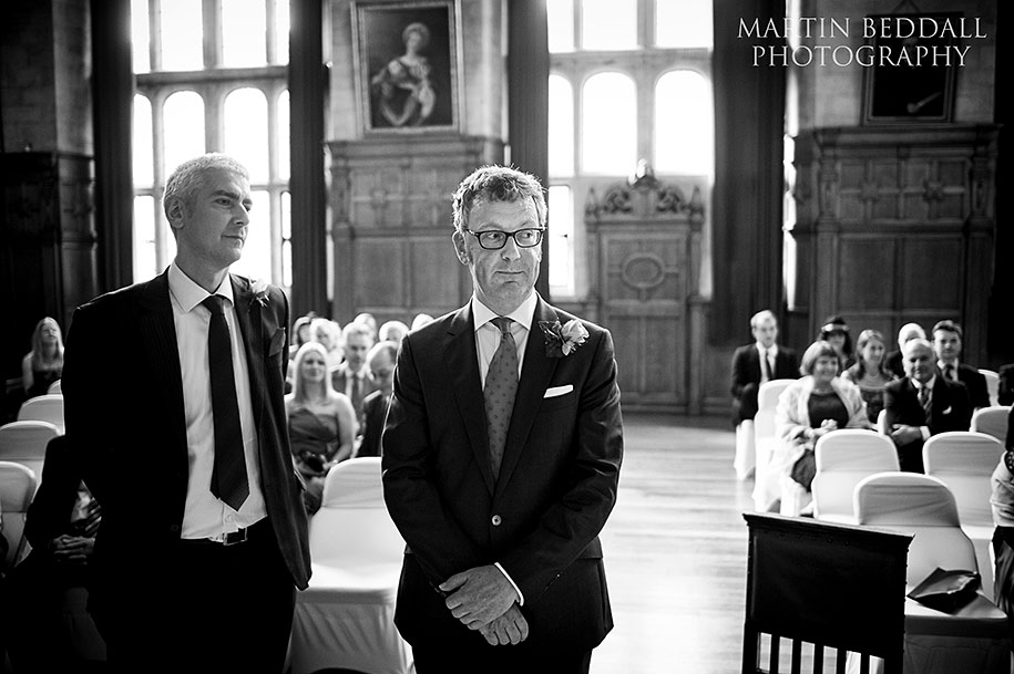 Groom waits in the Assemnbly Room at Oxford Town Hall
