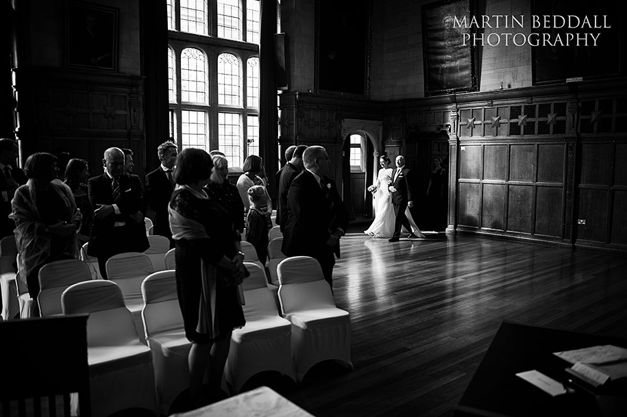 Bride enters with her father at the Assembly room at Oxford Town Hall