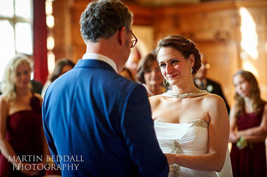 Tearey bride at Oxford Town Hall wedding ceremony